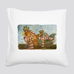 Winter Chickens Square Canvas Pillow