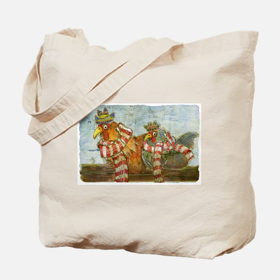 Winter Chickens Tote Bag