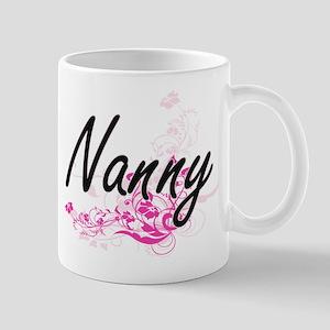 Nanny Artistic Job Design with Flowers Mugs