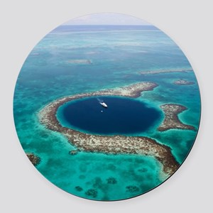 GREAT BLUE HOLE 1 Round Car Magnet