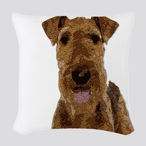 Airedale Painted Woven Throw Pillow