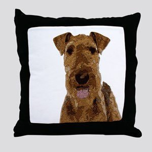 Airedale Painted Throw Pillow