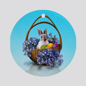 Easter Bunny Basket Round Ornament