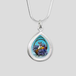 Easter Bunny Basket Silver Teardrop Necklace