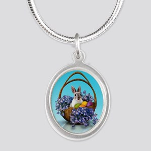 Easter Bunny Basket Silver Oval Necklace