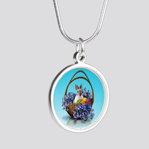 Easter Bunny Basket Silver Round Necklace