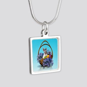 Easter Bunny Basket Silver Square Necklace