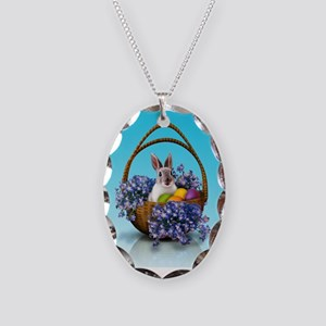 Easter Bunny Basket Necklace Oval Charm
