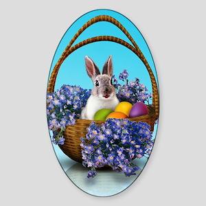Easter Bunny Basket Sticker (Oval)