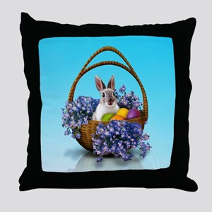 Easter Bunny Basket Throw Pillow