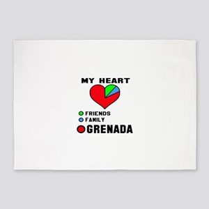 My Heart Friends, Family and Grenad 5'x7'Area Rug