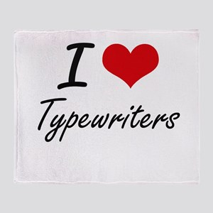 I love Typewriters Throw Blanket