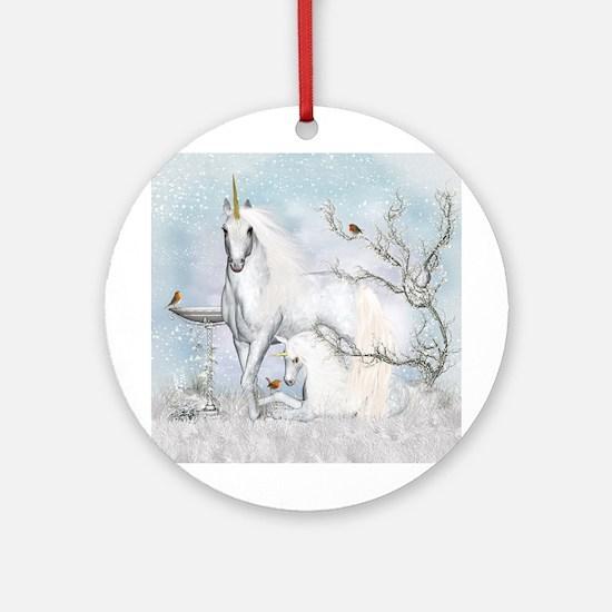 Winter Robins & Unicorns Round Ornament