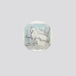 Winter Robins & Unicorns Mini Button