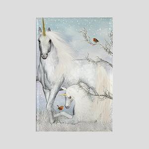 Winter Robins & Unicorns Rectangle Magnet