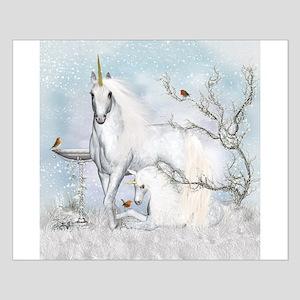 Winter Robins & Unicorns Small Poster