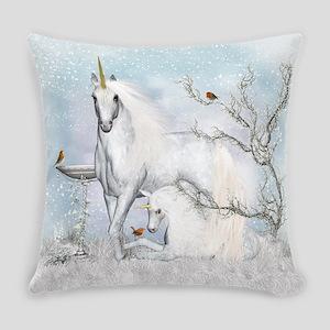 Winter Robins & Unicorns Everyday Pillow