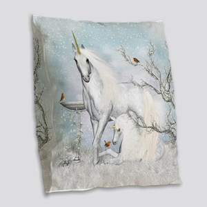 Winter Robins & Unicorns Burlap Throw Pillow