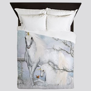 Winter Robins & Unicorns Queen Duvet