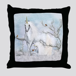 Winter Robins & Unicorns Throw Pillow