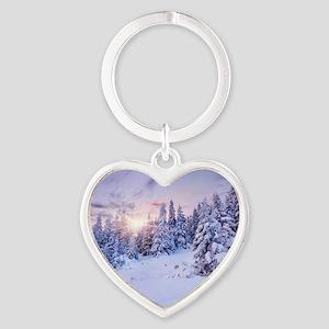 Winter Pine Forest Heart Keychain
