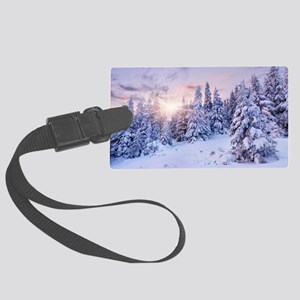 Winter Pine Forest Large Luggage Tag