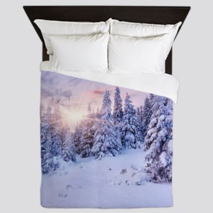 Winter Pine Forest Queen Duvet