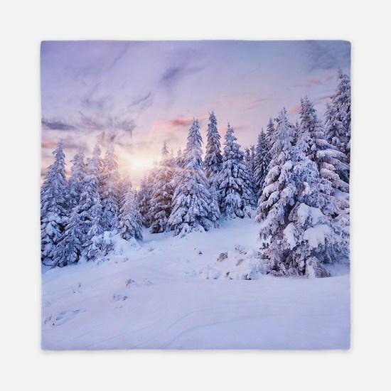 Winter Pine Forest Queen Duvet