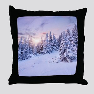 Winter Pine Forest Throw Pillow