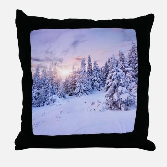 Winter Pine Forest Throw Pillow