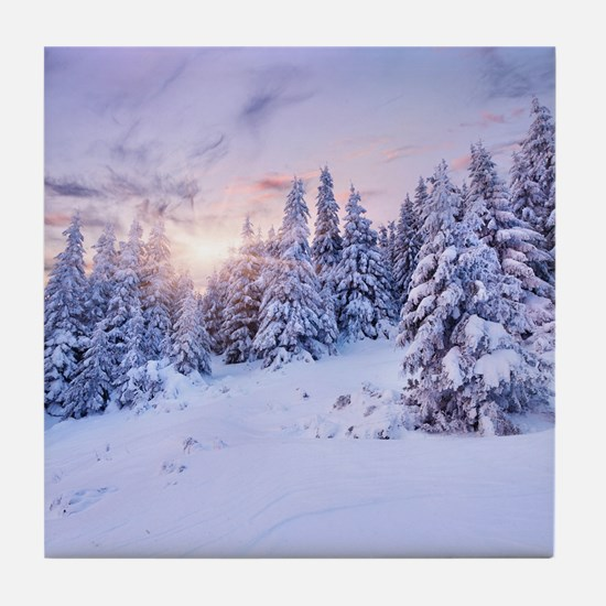 Winter Pine Forest Tile Coaster