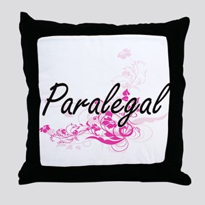 Paralegal Artistic Job Design with Fl Throw Pillow