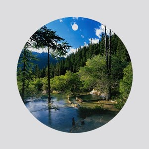 Mountain Forest Lake Round Ornament