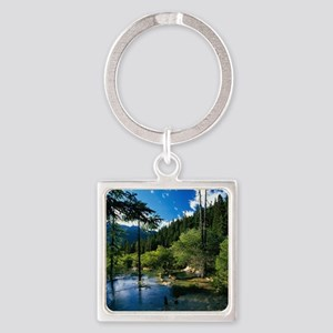 Mountain Forest Lake Square Keychain