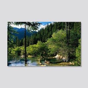 Mountain Forest Lake 20x12 Wall Decal