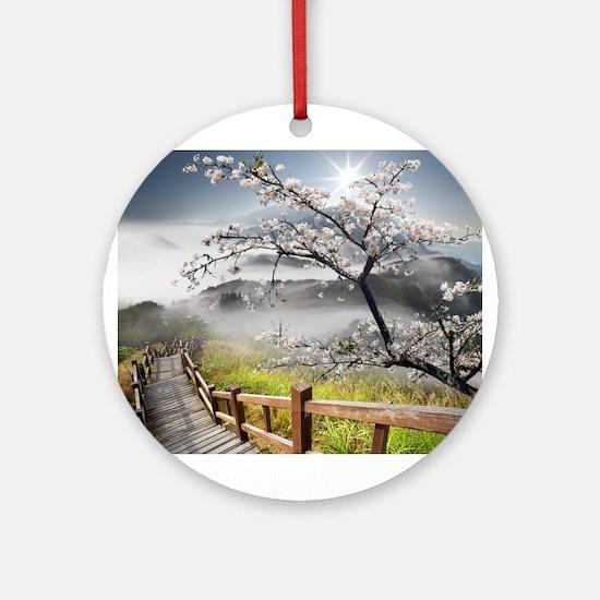 Japanese Cherry Landscape Round Ornament