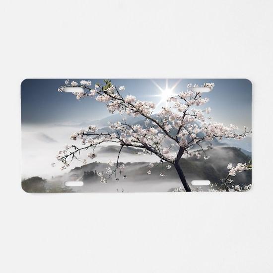Japanese Cherry Landscape Aluminum License Plate