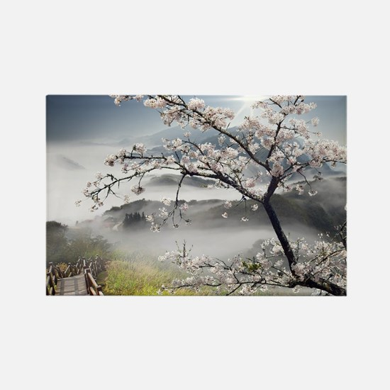 Japanese Cherry Landscape Rectangle Magnet
