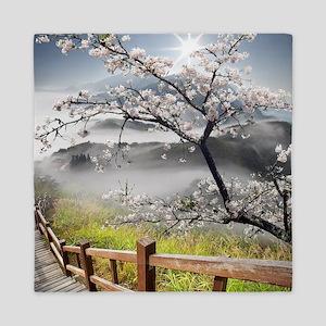 Japanese Cherry Landscape Queen Duvet