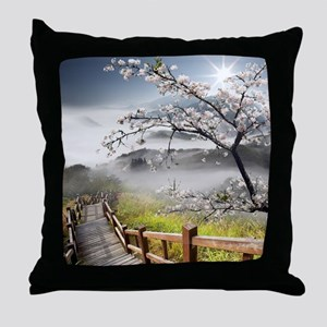 Japanese Cherry Landscape Throw Pillow