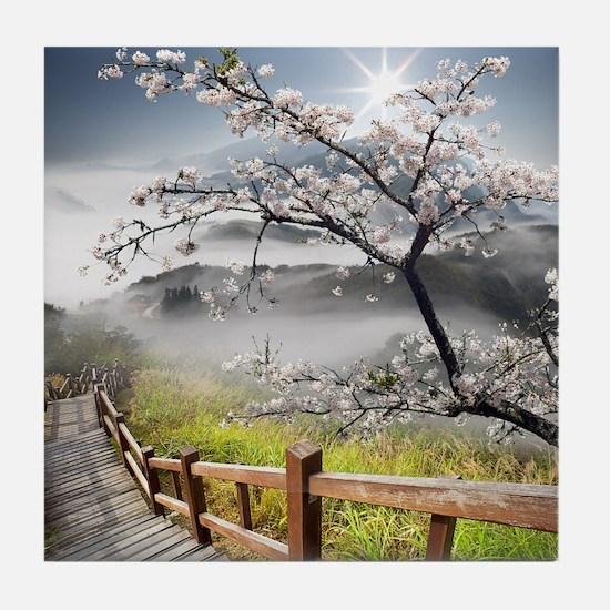 Japanese Cherry Landscape Tile Coaster
