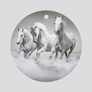 Wild White Horses Round Ornament