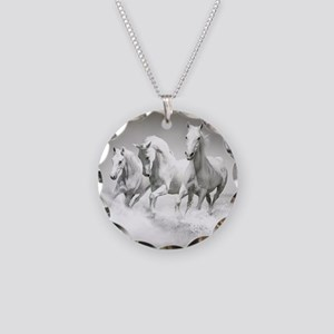 Wild White Horses Necklace Circle Charm