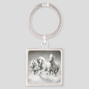 Wild White Horses Square Keychain