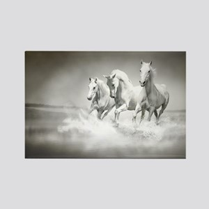 Wild White Horses Rectangle Magnet