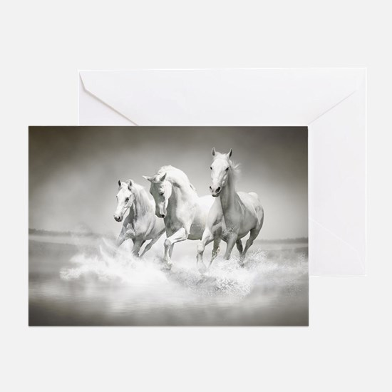 Wild White Horses Greeting Card