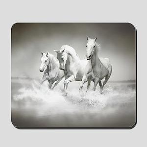 Wild White Horses Mousepad