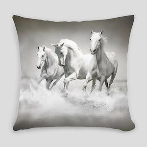 Wild White Horses Everyday Pillow