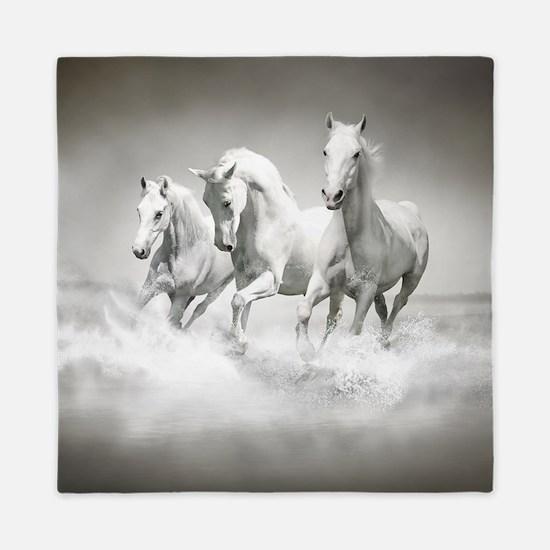 Wild White Horses Queen Duvet