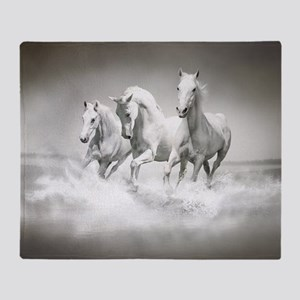 Wild White Horses Throw Blanket